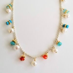 Sterling Silver Multi Stone and Pearl Necklace